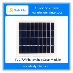 9V 1.7W Photovoltaic Solar Module, tempered glass